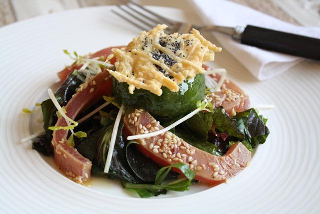 thon en sashimi sorbet basilic et vinaigrette aux coquelicots. Black Bedroom Furniture Sets. Home Design Ideas